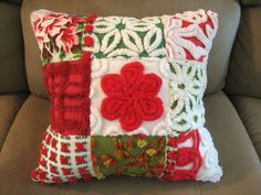 Vintage Chenille Quilted Christmas Pillow Red, White and Green Patchwork. $33.50, via Etsy.