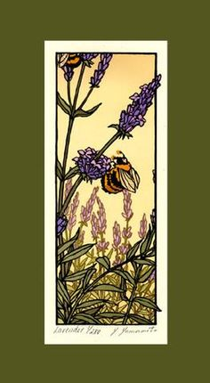 (stained glass inspiration for me) Linoleum-block print of the lavender field by Yoshiko Yamamoto, for powder Woodcut Art, Linocut Prints, Art Prints, Block Prints, Art And Illustration, Botanical Illustration, Arts And Crafts Movement, Art And Craft Design, 1920s Art