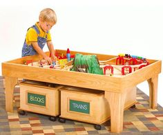 Youngsters will love the smooth flat surface of this play center for building a model railroad, assembling a Lego structure, or putting together a 1000-piece puzzle. Moms will appreciate the tray-like top that keeps small parts corralled and the roll-out storage boxes for stowing toys at cleanup time. Dads: You get to build it!