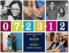 Love the main elements. Like the date. Maybe tame the colors a little. And keep the pictures color or bw (not a mix). Love the save-the-date!