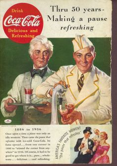 Thru 50 Years Making a pause refreshing 1936 Coca Cola ad Soda jerk at fountain #CocaCola