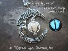 Beautiful silver tone finish, vintage style Crescent Moon with caged orb Glow Locket. This comes on elegant chain. Magical and mystical and soon to be one of your favorite pieces of jewelry to wear! The little orbs are colorless in the daylight and glow a beautiful vibrant color in the dark. comes as shown in first image. This crescent moon is so gorgeous and magical! The little orb is colorless and just needs sunlight or flourescent to charge up and glows the most beautiful color, in dark…