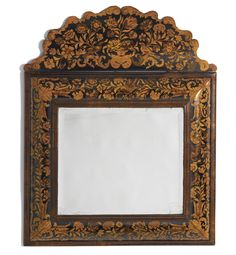 A William and Mary walnut and fruitwood marquetry mirror circa 1690 height 40 in.; width 32 in. The Style and Date indicate that this Mirror was made by a French Huguenot emigre (refugee) There are very few English mirrors of this period that were signed