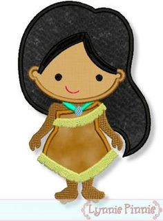 Cutie+PRINCESS+as+Pocahontas+Applique+4x4+5x7+6x10+by+LynniePinnie,+$2.99