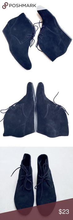 NINE WEST WEDGE VELVET TIE BOOTIE US 8M NINE WEST WEDGE BLACK VELVET TIE BOOTIE US 8M. BRAND NEW. NEVER WORN. Nine West Shoes Ankle Boots & Booties