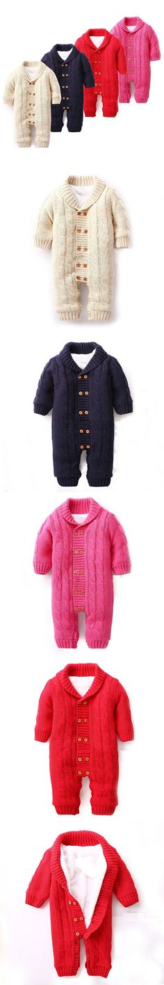 301d53577 Newborn Baby Rompers Infant Winter Overalls Thick Fleece Cotton Sweater  Outfits Double Breasted Boy Girl Romper