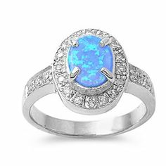Adorable Blue Opal Halo Ring