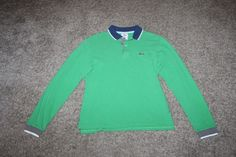 Lacoste Green Blue White Boys L/ S Big Logo 100% Cotton Polo Shirt Size 14 #Lacoste #Everyday