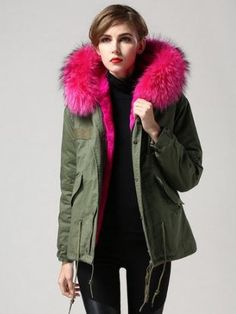 DHL Shipping included in price. Faux Fur Collar Parka with fleece lining…