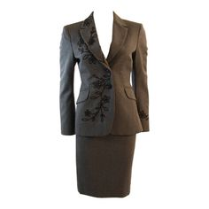 Moschino Cheap and Chic Wool Skirt Suit with Lady Bug Floral Motif  Size 4   From a collection of rare vintage suits, outfits and ensembles at https://www.1stdibs.com/fashion/clothing/suits-outfits-ensembles/