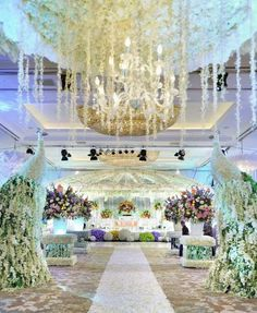 The lush floral covered ceiling at this jakarta indonesia albert polina by lotus design 008 wedding decor junglespirit Gallery
