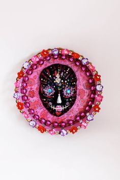 Day of the dead Pink and Red wall art Original by TheVirginRose, $44.00