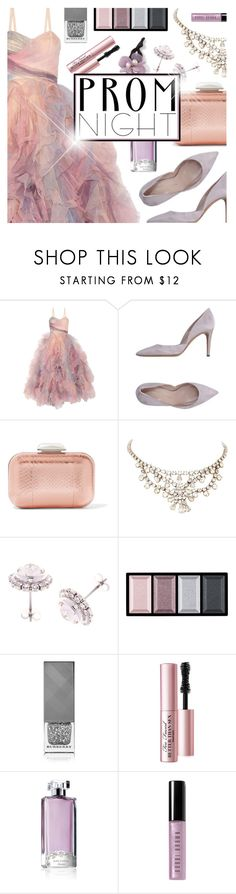 """Prom Night soft pink and purple"" by virginia-laurie ❤ liked on Polyvore featuring Marchesa, Jimmy Choo, Ted Baker, Clé de Peau Beauté, Burberry, Too Faced Cosmetics, Guerlain, Bobbi Brown Cosmetics and Cara"