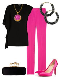 Fucsia y Negro by outfits-de-moda2 on Polyvore featuring moda, Preen, Christian Louboutin, Alexander McQueen, Forever 21 and Meghna Designs