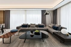 apartment model of wuhan vanke Family Room, Couch, Interior Design, Table, Inspiration, Furniture, Wuhan, Home Decor, Model