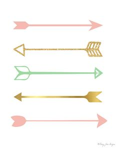 Pink Gold and Seafoam Green Arrows Digital no PennyJaneDesign