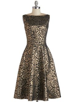Radiant Roses Dress by Bettie Page - Woven, Long, Gold, Black, Floral, Formal, Cocktail, Holiday Party, A-line, Sleeveless, Better, Boat