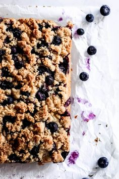 A sweet coffee cake  with lots of blueberries throughout and topped with a delicious brown  sugar crumb topping that add crunch & texture. #easyrecipe #blueberries #coffeecake #crumbtopping