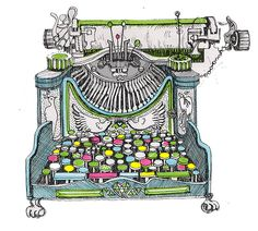 colorful typewriter illustration