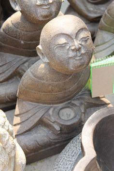 Stone meditating monk figure from Beijing, China