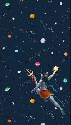 Lord Shiva in space wallpaper in creative art painting Shiva Art, Shiva Shakti, Shri Ram Photo, Ram Photos, Lord Mahadev, Shiva Lord Wallpapers, Lord Shiva Painting, Om Namah Shivaya, Religious Art