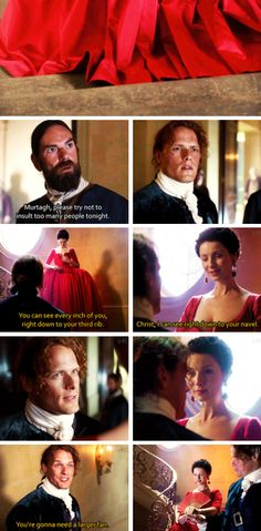 """""""You're gonna need a larger fan"""" - Jamie, Claire and Murtagh #Outlander ((She was STUNNING!!))"""