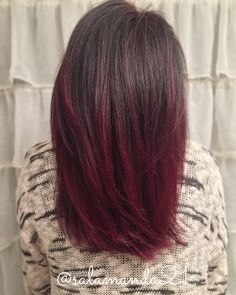 Burgundy red Balayage - All For Hair Color Balayage Red Balayage Hair Burgundy, Red Ombre Hair, Brown Blonde Hair, Hair Color Balayage, Hair Highlights, Ombré Hair, Hair Color And Cut, Medium Hair Cuts, Hair Today