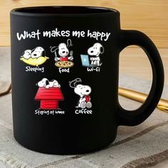 """Adorable """"What makes me happy"""" Snoopy coffee mug"""
