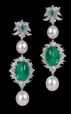 Minwala emerald, diamond and pearl earrings