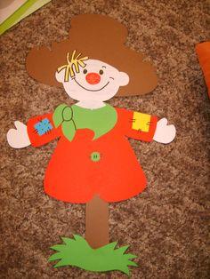 őszi dekoráció tanterembe - Google keresés Clown Crafts, Fruit Crafts, Scarecrow Crafts, Puppet Crafts, Halloween Crafts, Autumn Crafts, Fall Crafts For Kids, Autumn Art, Diy For Kids