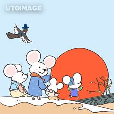 Mouse Illustration, New Year Images, Year Of The Rat, New Year Card, Rats, Smurfs, Crafts For Kids, Snoopy, Graphic Design