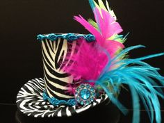 Wild Zebra Mini Top Hat.  Great for Birthday Parties, Tea Parties, Photo Prop, Girls Night Out and Much More...