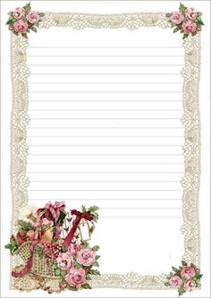 Floral Basket Lined ~~J Free Printable Stationery, Printable Paper, Papel Vintage, Vintage Paper, Paper Art, Paper Crafts, Stationery Paper, Writing Paper, Note Paper