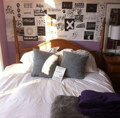 Those band posters bring back so much nostalgia! Pretty lavender bedroom with black and white band fliers