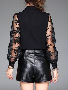 Camisa de cuello de manga larga bordada cordón del arco de la blusa