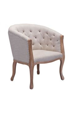 Shotwell Dining Chair - 98380Description :The Shotwell Dining chair is a modern version of a classic design. With slim Louis like legs and upholstered with beige polyester linen, accented by a soft tufted back and stunning nailhead details