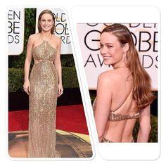 """""""#BrieLarson, brilha no #TapeteVermelho do #GoldenGlobes2016 em um dress com recortes #CalvinKleinCollection. A diva concorre na categoria melhor atriz de…"""""""