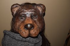Lucy bear mask, bear costume handmade paper mache animal mask