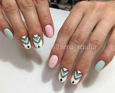 Discover new and inspirational nail art for your short nail designs. Nail Art Pastel, Fun Nails, Pretty Nails, Aztec Nails, Aztec Nail Art, Nagel Gel, Creative Nails, Perfect Nails, Nails Inspiration