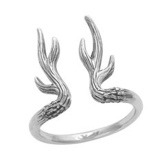 Sterling Silver Antler Ring.-925 sterling silver.-18mm antlers.-Oxidised finish.-Packaged in an Empty Casket gift box.For help with ring sizes please click the