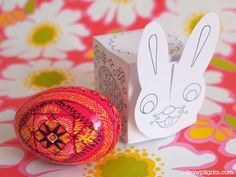 the funny bunny easter egg box printable: keep your easter egg hidden with the interlocking bunny face lid! available in full color, or black and white color-in design!