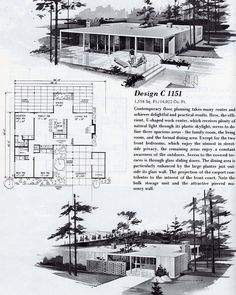 Design C 1558 sq ft. Modern Floor Plans, Modern House Plans, Vintage Architecture, Architecture Plan, Haus Am See, Mcm House, Casa Patio, Vintage House Plans, Googie