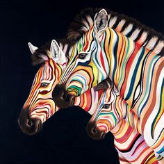 Flying Colours by Hayley Goodhead is a signed limited edition print. Other prints and originals by Hayley Goodhead are available from Rennies Gallery. Zebra Painting, Zebra Art, Rare Animals, Zoo Animals, Zebra Kunst, Motifs Animal, Colorful Animals, Tier Fotos, Arte Pop