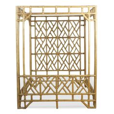 Vintage Chinese Chippendale Rattan Faux Bamboo Hollywood