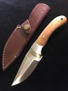 Survival Knife Light Brown Wood Handle Hunting Knives Leather Sheath
