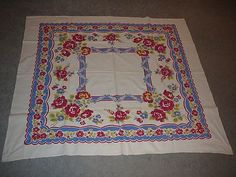 Vintage Table Cloth Linen-White w/Blue Yellow Red Design Lot #98