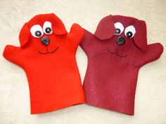 Make a Big Red Dog Puppet. I made this to use when I read Clifford books to my son.