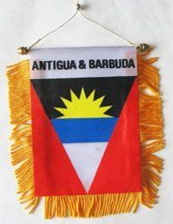 """Antigua and Barbuda - Window Hanging Flag by flagline. $2.75. 4"""" x 6"""" Fringed Window Hanging Flag. We are pleased to provide a selection of window-hanging flags, perfect for display in your vehicle. These are approx. 4.5"""" x 4"""" flags with fringed edges and a gold rope which attaches to the supplied suction hanger, or mounts directly over your rear-view mirror.. Save 30% Off!"""