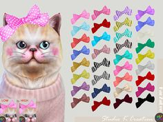 [PETS] cat head bow34 colors /New mesh by me / find at hat / need sims 4 pets expansion packbow position in High : Mediafire download OR Baidu downlo