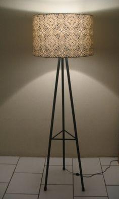 Drum Pattern Shade on Tripod Lamp